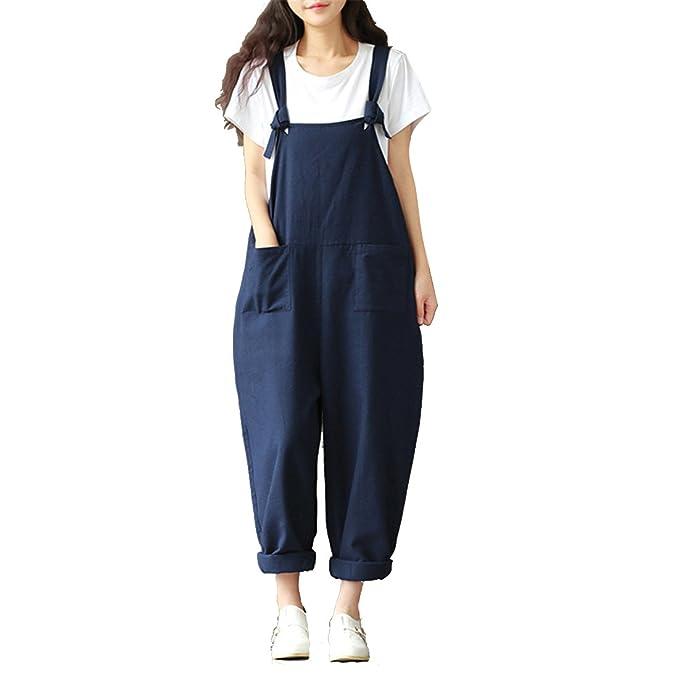 e194bee92 Luckywe Mujeres Peleles de algodón Amplia Pierna Pantalones Sueltos  Pantalones Embarazadas Rasgada Elástico de Jean Ajustados Pantalones   Amazon.es  Ropa y ...