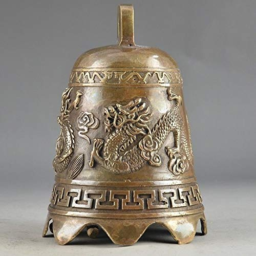 BeesClover Rare Old Prayer Handwork Hammered Chinese Brass Old Dragon Embossment Bell Decor Copper Tools Wedding Decoration Brass Bronze Show by BeesClover (Image #2)