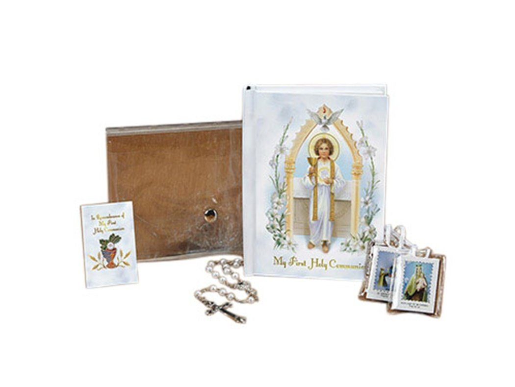 Jesus Pure and Holy First Communion Wallet Set with Mass Book Scapular Rosary and Lapel Pin (White (Girl)) by First Holy Communion