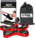 Stretching Strap With Loops to Increase Flexibility for Physical Therapy and Yoga + eBook & Exercise Instructions & Carry Bag by CTRL Sports