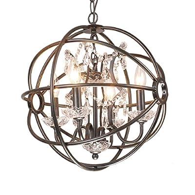 4-light Antique Bronze Near Black Metal Strap Globe Sphere Crystal Chandelier Ceiling Fixture