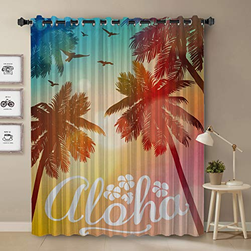 T&H Home Darkening Blackout Curtain for Bedroom - 52 inch Long Window Treatment Curtain Drapes - Aloha Window Panel Tropical Coconut Palm Trees Hawaii Summer Beach Party Sunset Skyline Pattern