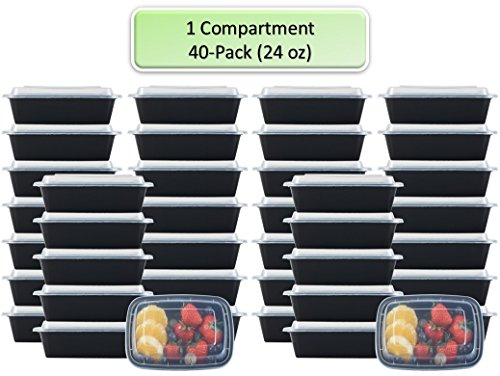 1 Compartment Container - NutriBox [40 Value Pack] Single 1 compartment 28 OZ Meal Prep Plastic Food Storage Containers with lids- BPA Free Reusable Lunch Bento Box - Microwave, Dishwasher and Freezer Safe