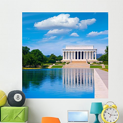 Wallmonkeys FOT-78718741-48 WM362516 Abraham Lincoln Memorial Reflection Pool Washington Peel and Stick Wall Decals H x 48 in W, 48