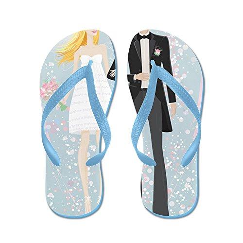 Abito Da Sposo E Sposa - - Infradito, Sandali Infradito Divertenti, Sandali Da Spiaggia Blu Caraibico
