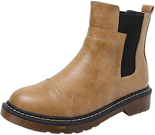 Ppxid Donna Inverno Stile Inglese Caviglia Chelsea Stivali Da Neve Giallo