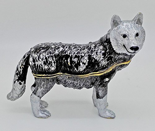Pewter Wolf Handmade Jeweled Trinket Box Wolf Figurine Hinged Small Earring Holding Box