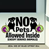 NO PETS ALLOWED INSIDE Retail Shop Store Front Door Window Sign Vinyl Decal Sticker BLACK