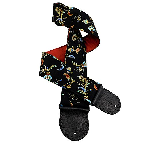Elegant Black Guitar Strap Handmade Blue, Aqua, Terracotta Floral Imagery with Pure Dupioni Silk Back Lining