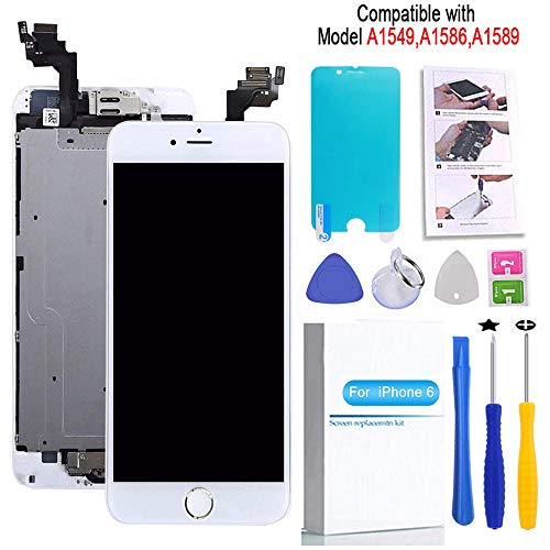 Screen Replacement Compatible iPhone 6 White 4.7(inch) LCD Display Touch Digitizer Assembly Repair Kit & Home Button,Ear Speaker, Front Camera,Proximity Sensor ,Repair Tools