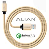 ALIAN Type-C Cable 2 Meter/ 6.6 Feet With Quick Charging (3.0 Amp) | Nylon Braided [CHECK-R Passed] - Gold Color