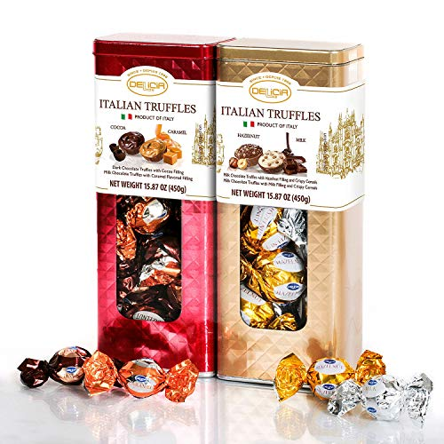 Fine Italian Truffles Milk Chocolate Candies Gift Set Tin 2 Pack   Dark Chocolate with Cocoa & Caramel Filling   Milk Hazelnut Crispy Cereals Filled   15.87 Oz Each Signature Collection Tin (Holiday) ()