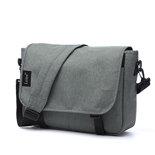 Loiee 14 inches Classic Canvas Messenger Bag,Water Resistant Vintage School Bag,Grey by Loiee