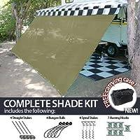 RV Awning Shade Complete Kit 8'x18' Beige Desert Tan