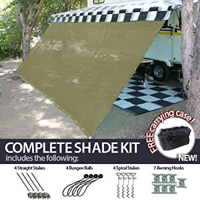 RV Awning Shade Complete Kit 6'x10' Beige Desert Tan