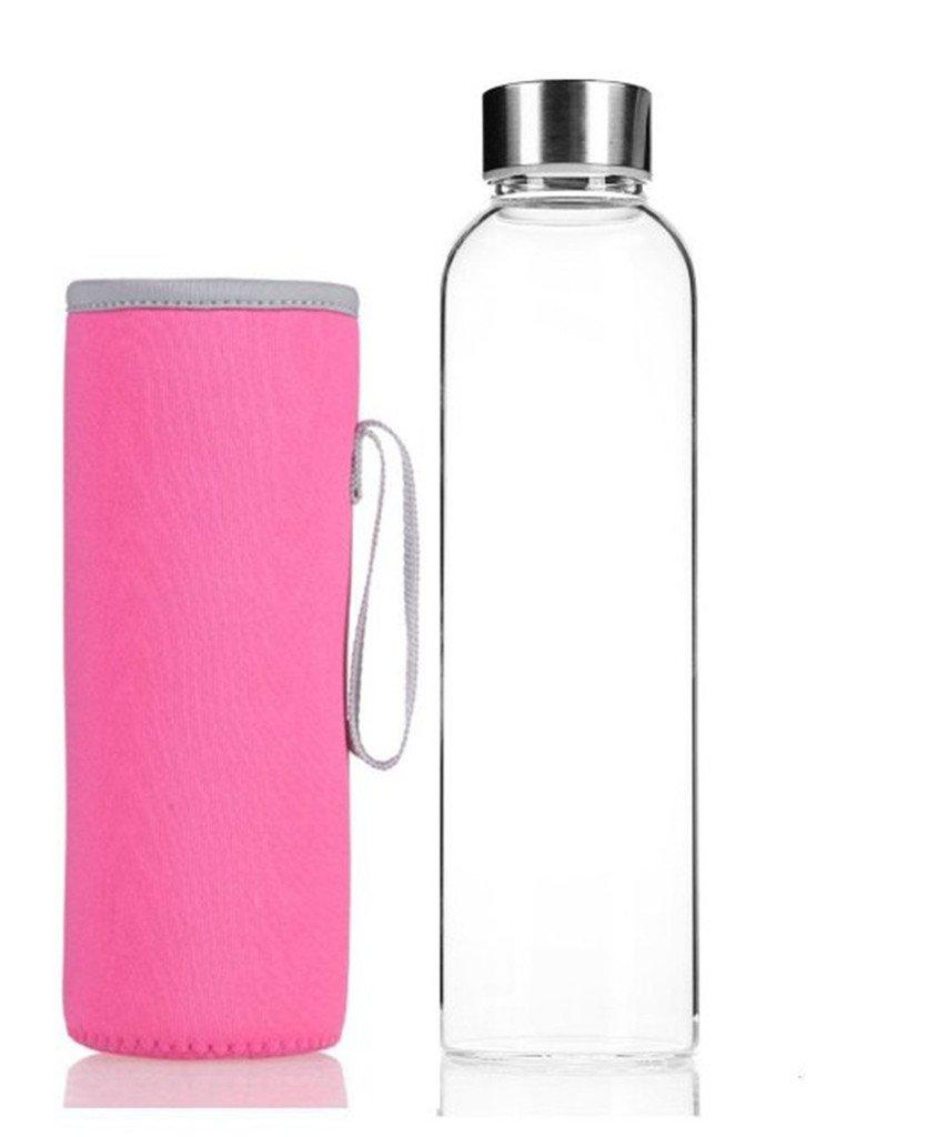 IVYRISEスタイリッシュな高品質環境ホウケイ酸ガラスウォーターボトルカラフルなナイロンスリーブ B01JOS5IYG ピンク 420ml