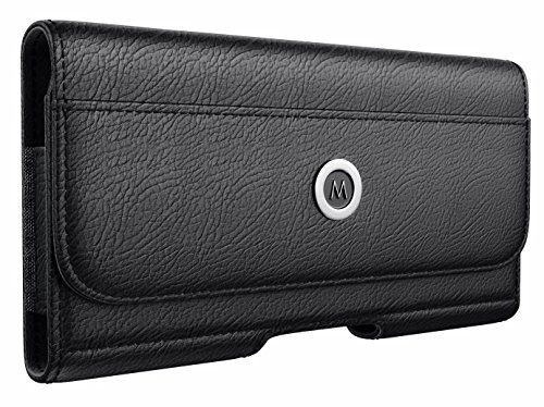 Galaxy Note 9 Belt Case - Samsung Galaxy Note 8 Belt Clip Case with ID Card Holder Leather Pouch Belt Holster for Samsung Note 8/9 (Fits Phone w/a Thin to Medium Size Case On) Black