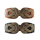 VOCHIC 2pcs Vintage Metal Interlock Buckle Elastic Waist Belt Womens Basic Wide Stretchy Cinch