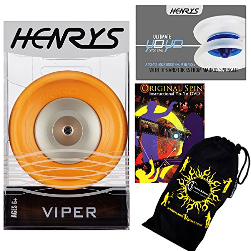 Henrys VIPER YoYo (Orange) Professional Ball Bearing YoYo +Instructional Booklet of Tricks + 75 Yo-Yo Tricks DVD & Travel Bag! Pro YoYos For Kids and Adults! by Henrys YoYo's