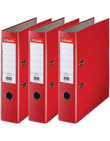 Esselte 624292 - Archivador con anillas (Capacidad 550 hojas, 3 unidades), rojo