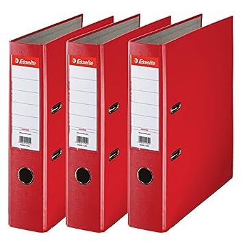 Esselte 624292 - Archivador con anillas (Capacidad 550 hojas, 3 unidades), rojo, 75 mm: Amazon.es: Oficina y papelería