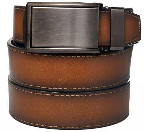 Cognac Full Grain Leather with Gunmetal Buckle (Full Metal Buckle)