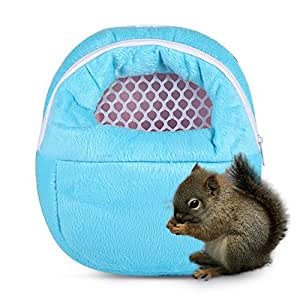 Pet Carrier Bags,Portable Rat Hamster Chinchilla Rabbit Breathable Handbags Outgoing Packet Bag Hanging Bed-Blue M