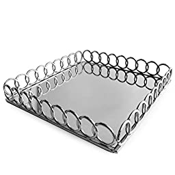 American Atelier 1332766 Looped Square Mirror Tray, Silver