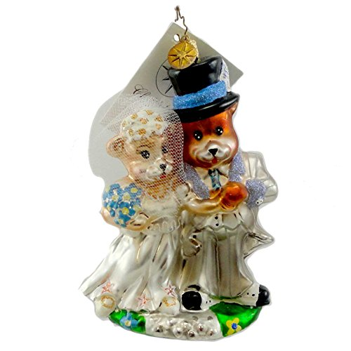 Christopher Radko WEDDED TO TED Blown Glass Ornament Teddy Bear Bride -
