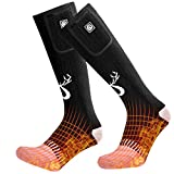 SNOW DEER 2019 Upgraded Rechargeable Electric Heated Socks,7.4V 2200mAh Battery Powered Cold Weather Heat Socks for Men Women,Outdoor Riding Camping Hiking Motorcycle Skiing Warm Winter Socks(Medium)