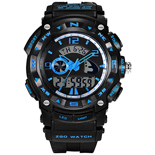 Large Face Outdoor Sport Digital Kids Watch for Boys Blue by S-mart-ZGO