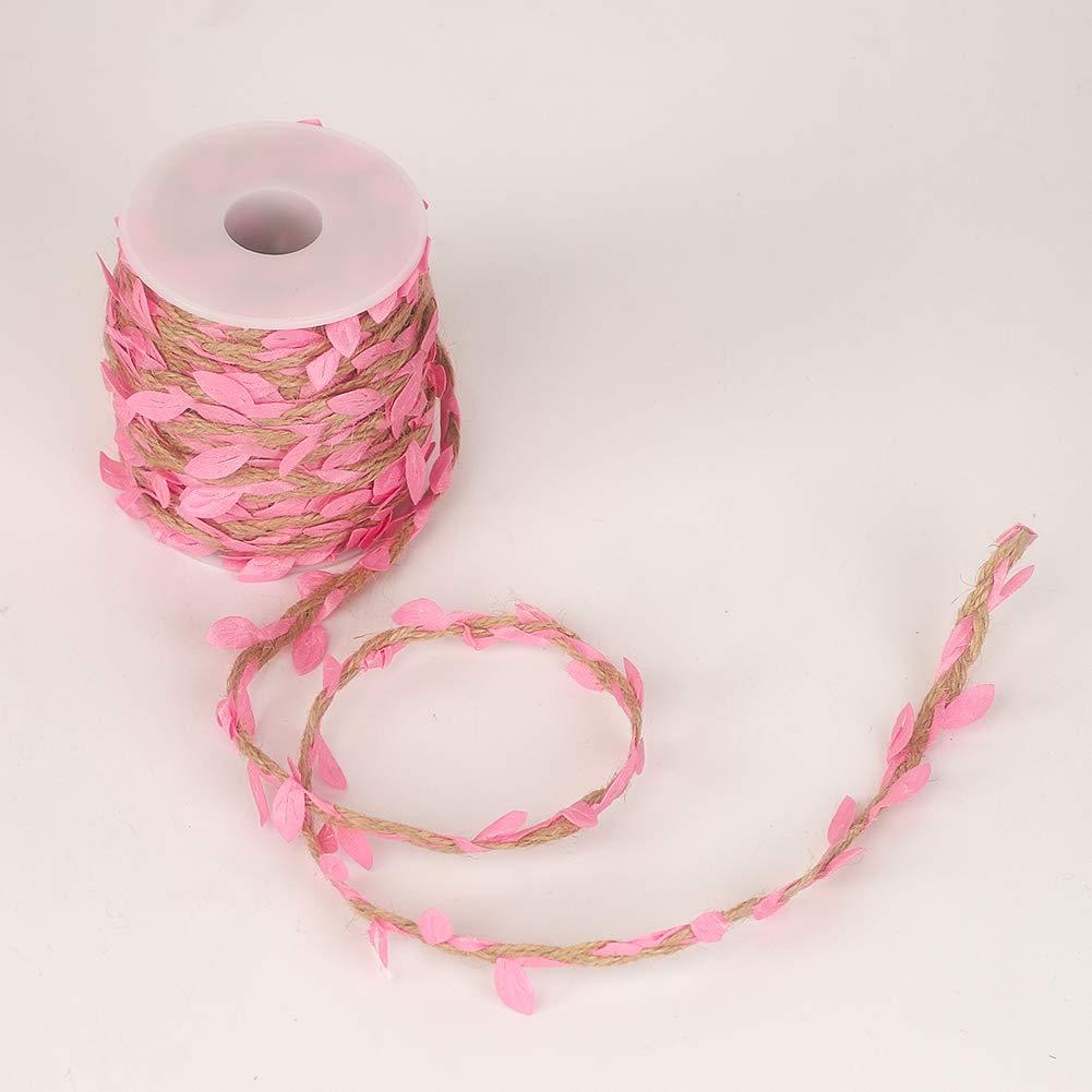 jard/ín Color Rosa hogar Cordel de Yute con Hoja Cinta de Hojas de 66 pies con Bobina para decoraci/ón de Boda Tenn Well
