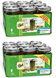 Ball Wide Mouth 1-1/2 Pint, 24 oz. Glass Mason Jars with lids and bands, 9 count - Pack of 2 (Total 18 Jars)