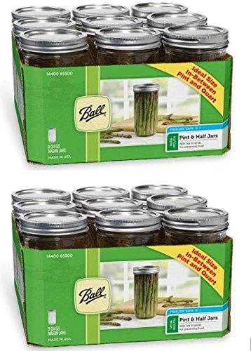 Ball Wide Mouth 1-1/2 Pint, 24 oz. Glass Mason Jars with lid