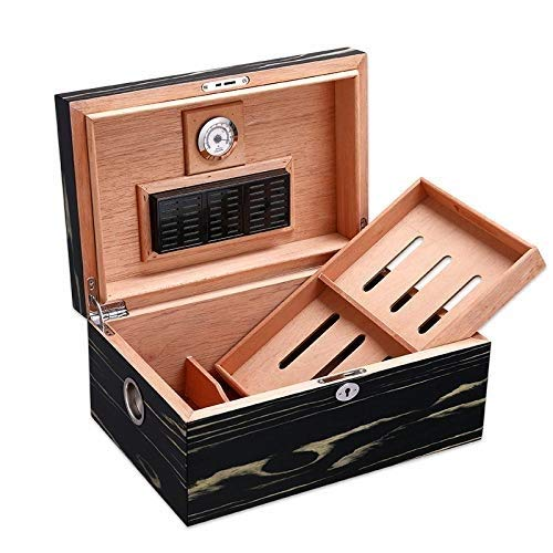 Ac498 Portable Cigar Box Cigar Box, Large Capacity Can Hold 100 Cigars, Cedar Wood Lining with Hygrometer and Humidifier, Cigar Cabinet Cuban Solid Wood Box, Men's Gift Box Cigarette Case by Ac498 (Image #1)