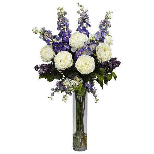 Nearly Natural 1220-PP Rose/Delphinium and Lilac Silk Flower Arrangement, Purple
