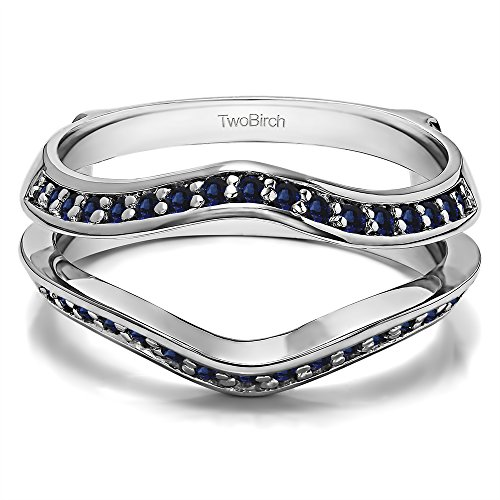 Silver Open Style Classic Wedding Ring Enhancer with Sapphire (0.34 ct. twt.) by TwoBirch