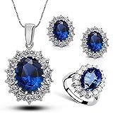 Fancy Austria Crystal Necklace Ring Earrings Jewelry Set Royal Blue