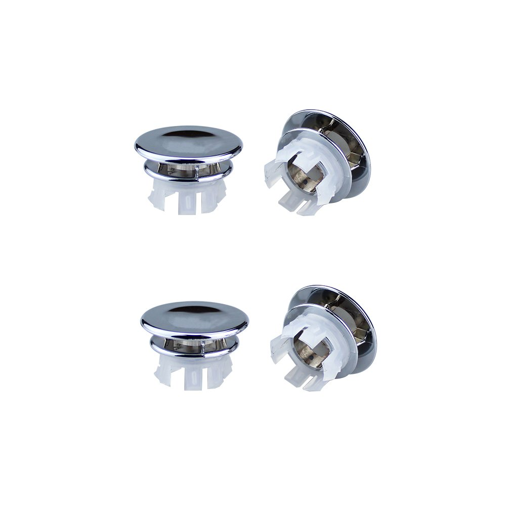 ClearUmm 4 Pcs Solid Sink Basin Leakproof Round Overflow Cover Remplacement Insert in Hole Caps Chrome