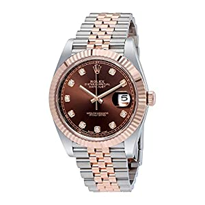 Rolex Datejust 41 Chocolate Diamond Dial Steel and 18K Everose Gold Jubilee Mens Watch 126331CHDJ