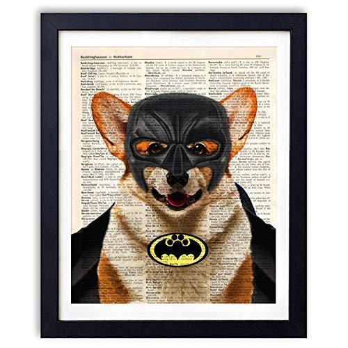 Ihopes Corgi Dog Batman Hero Vintage Book Art Print | Batman Fans Gifts | 8x10 Unframed | ()