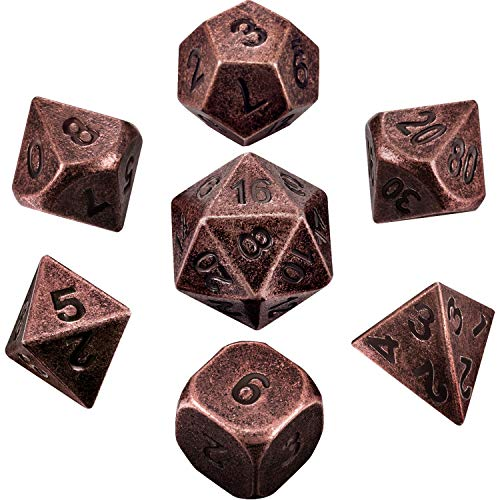 (Hestya 7 Pieces Metal Dices Set DND Game Polyhedral Solid Metal D&D Dice Set with Storage Bag and Zinc Alloy with Enamel for Role Playing Game Dungeons and Dragons (Red Copper))