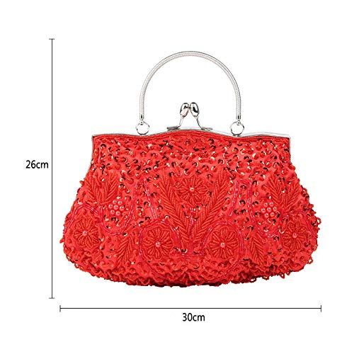 One Design Sequins Evening Clutch Messenger Women's Flower Bag Shoulder Dinner Beaded Luxury Vintage Lock WUHX Kiss J Dress qOxF1qp
