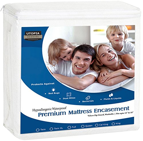 Bed Bugs Bedding - Utopia Bedding Premium Zippered Waterproof Mattress Encasement - Bed Bug Proof Mattress Cover - Ample Zipper Opening for Mattress Protector-Protection from Fluids, Insects and Dust Mites (Queen)