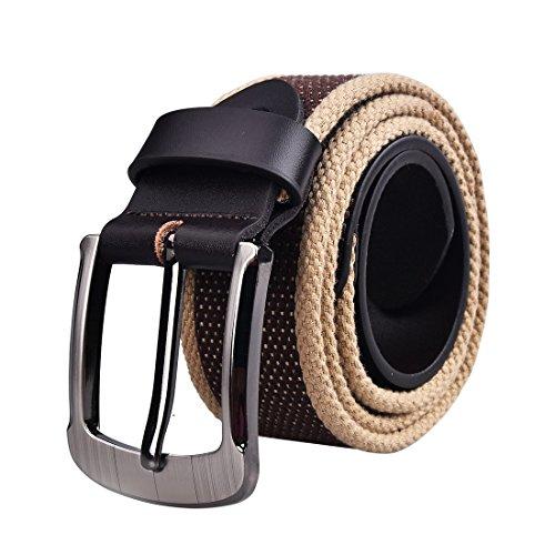 Canvas Classic Belt (Douguyan Unisex Casual Sports Canvas Web Stripe Buckle Belt Multi-color Belts Coffee)