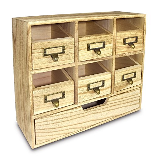 Ikee Design Natural Wood Color Wood Desktop Organizer Drawer Set with Metal Label Holder