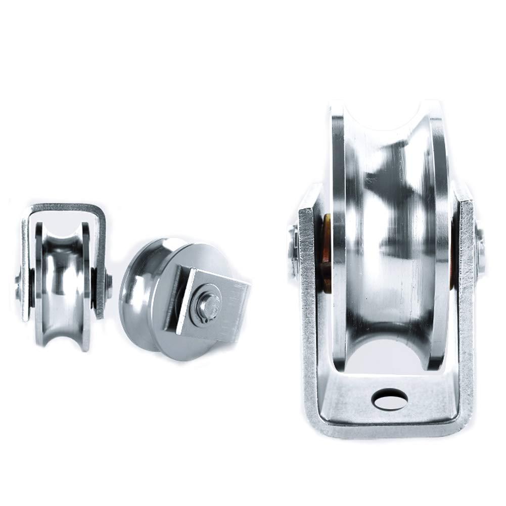 Chiloskit Sliding Gate 304 Stainless Steel 2 inch Roller Wheel Bearings U Groove Pulley Wheels for Swing//Sliding Sate with Wheel+Bracket,660 lbs Capacity U