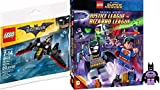 Lego Justice League Batman Figure & Plane Toy Builder & JL VS Bizarro League DVD Movie Combo Animated Official Hero Adventure