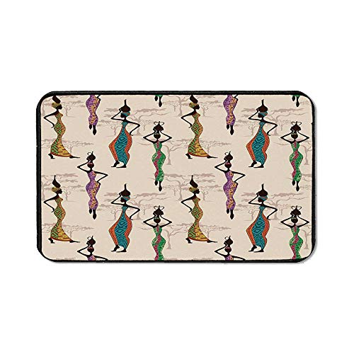 Afro Decor Office Mouse Pad,Vintage Stylized Ladies in Local Traditional Dress with Jugs on The Heads Artwork for Office Computer Desk,15.75''Wx23.62''Lx0.12''H ()