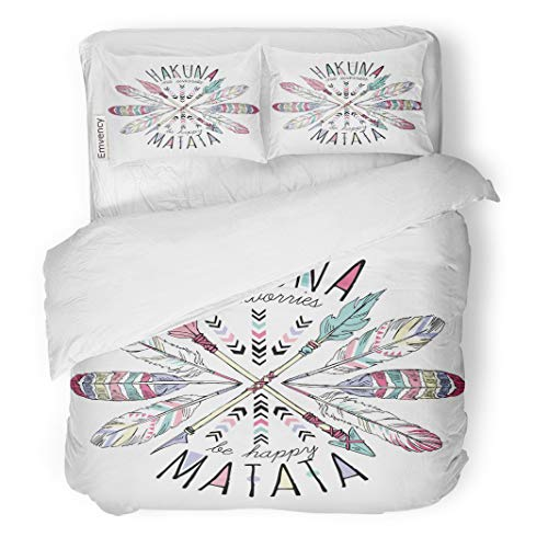 Semtomn Decor Duvet Cover Set Twin Size Tribal Aztec Lettering Hakuna Matata Summer Feather Slogan 3 Piece Brushed Microfiber Fabric Print Bedding Set Cover]()